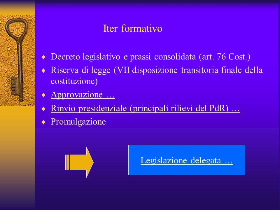 Iter formativo  Decreto legislativo e prassi consolidata (art. 76 Cost.)  Riserva di legge (VII disposizione transitoria finale della costituzione)