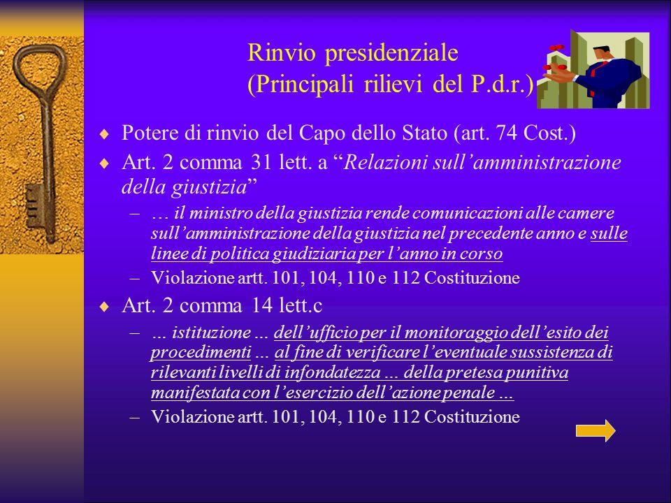 """Rinvio presidenziale (Principali rilievi del P.d.r.)  Potere di rinvio del Capo dello Stato (art. 74 Cost.)  Art. 2 comma 31 lett. a """"Relazioni sull"""