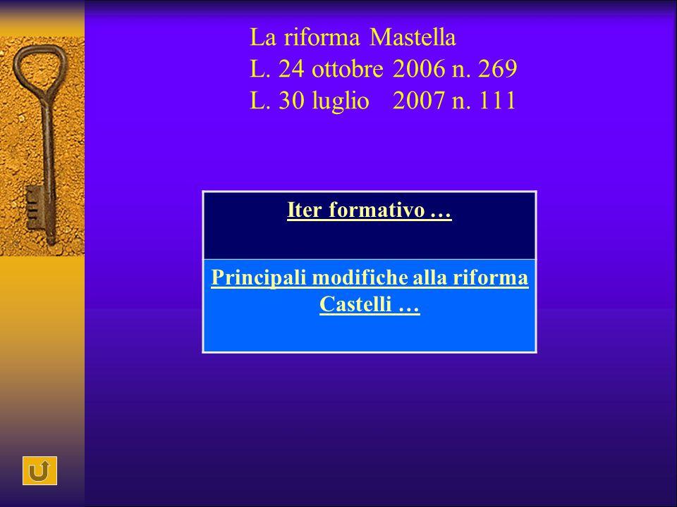 La riforma Mastella L. 24 ottobre 2006 n. 269 L. 30 luglio 2007 n. 111 Iter formativo … Principali modifiche alla riforma Castelli …