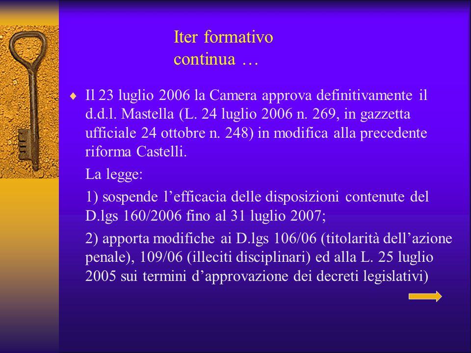 Iter formativo continua …  Il 23 luglio 2006 la Camera approva definitivamente il d.d.l. Mastella (L. 24 luglio 2006 n. 269, in gazzetta ufficiale 24
