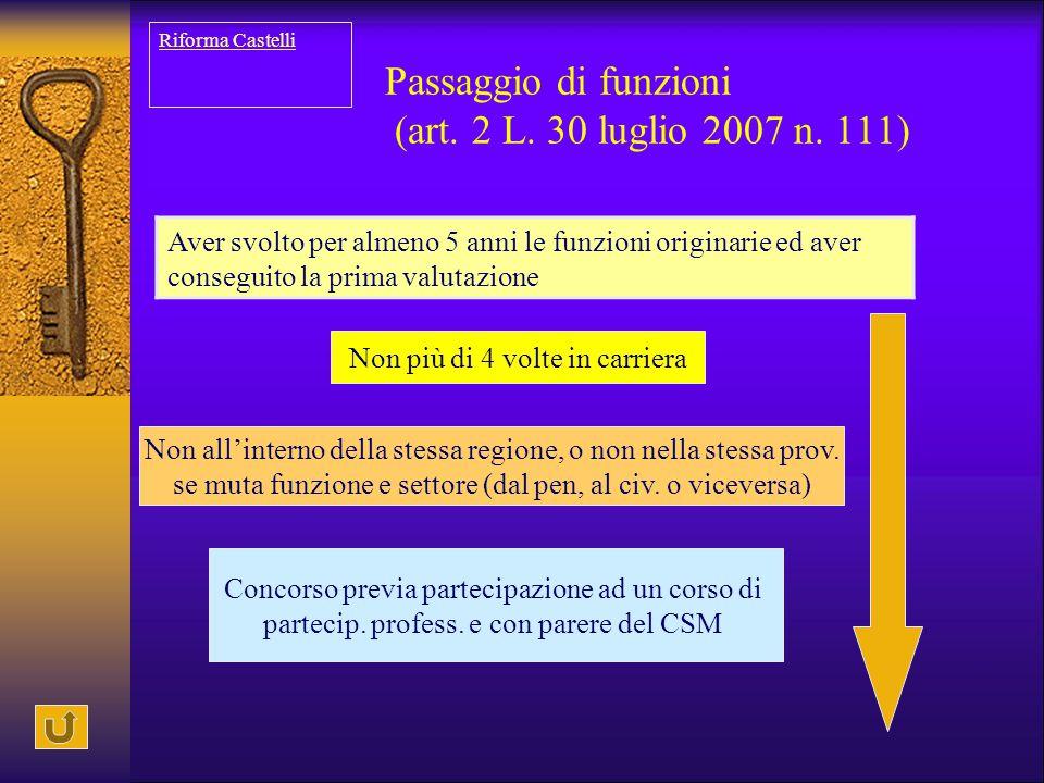 Passaggio di funzioni (art. 2 L. 30 luglio 2007 n. 111) Aver svolto per almeno 5 anni le funzioni originarie ed aver conseguito la prima valutazione N