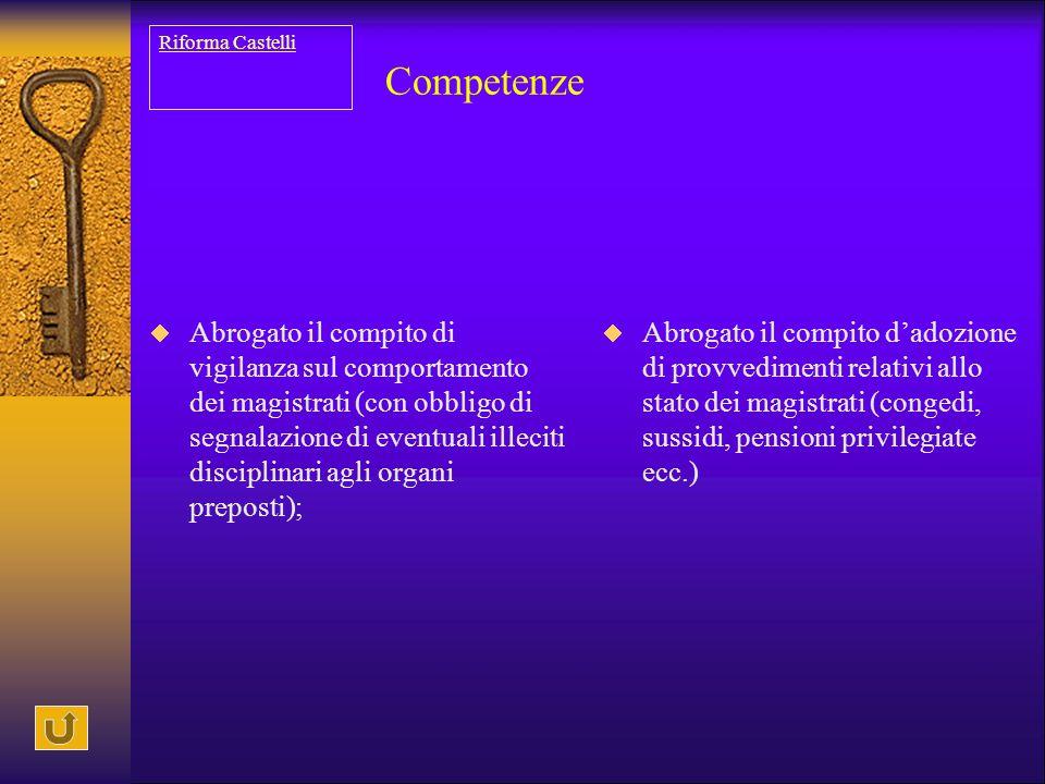 Competenze  Abrogato il compito di vigilanza sul comportamento dei magistrati (con obbligo di segnalazione di eventuali illeciti disciplinari agli or