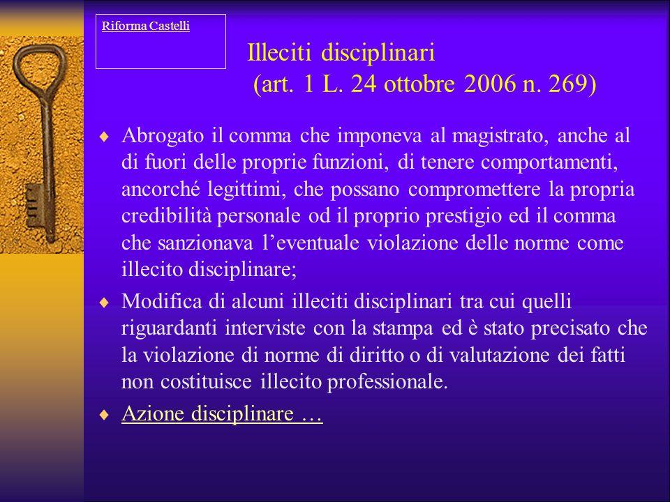 Illeciti disciplinari (art. 1 L. 24 ottobre 2006 n. 269)  Abrogato il comma che imponeva al magistrato, anche al di fuori delle proprie funzioni, di