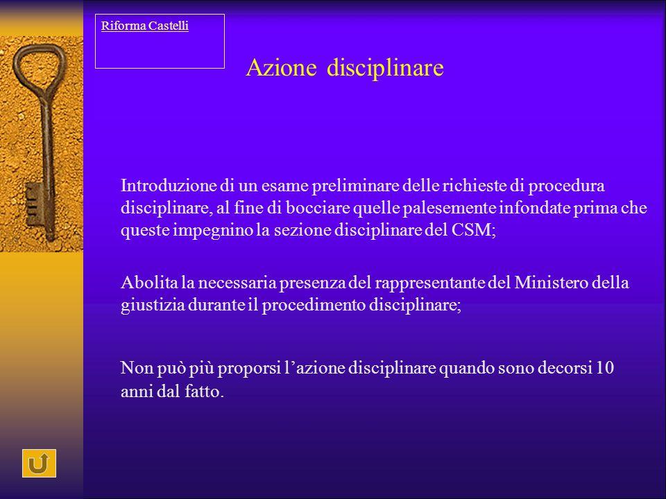 Azione disciplinare Introduzione di un esame preliminare delle richieste di procedura disciplinare, al fine di bocciare quelle palesemente infondate p