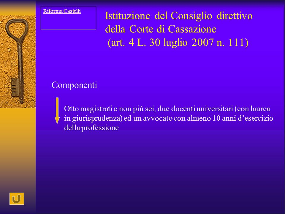 Istituzione del Consiglio direttivo della Corte di Cassazione (art. 4 L. 30 luglio 2007 n. 111) Componenti Otto magistrati e non più sei, due docenti