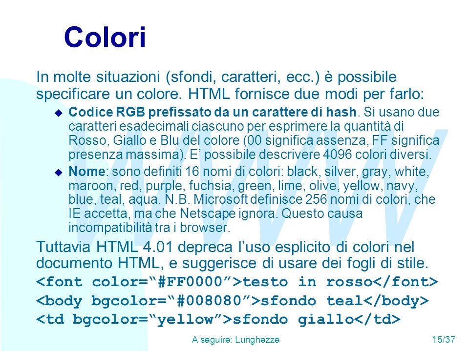 WWW A seguire: Lunghezze15/37 Colori In molte situazioni (sfondi, caratteri, ecc.) è possibile specificare un colore.