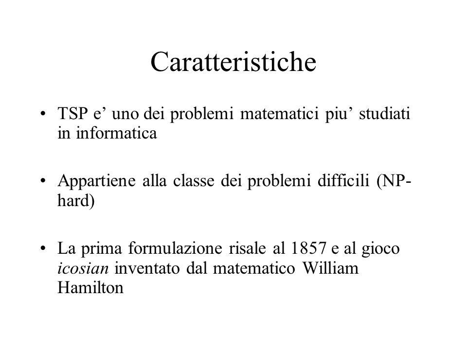 Caratteristiche TSP e' uno dei problemi matematici piu' studiati in informatica Appartiene alla classe dei problemi difficili (NP- hard) La prima formulazione risale al 1857 e al gioco icosian inventato dal matematico William Hamilton