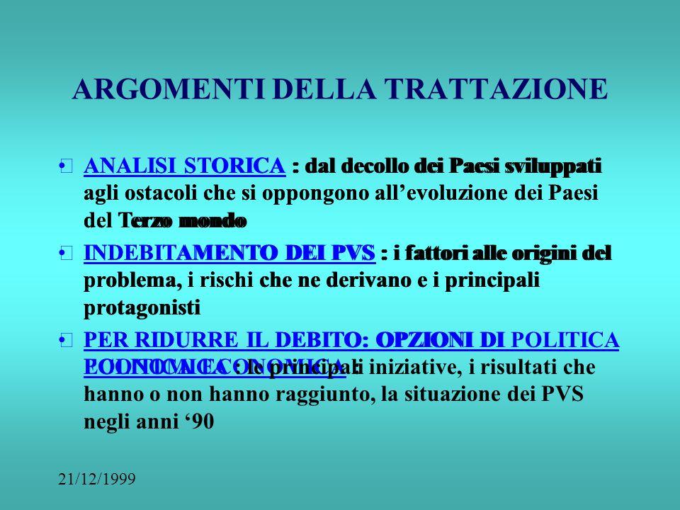 21/12/1999 INDEBITAMENTO DEI PVS COME QUANDO PERCHE' Laura Mannocchi, a.a. 1999-2000