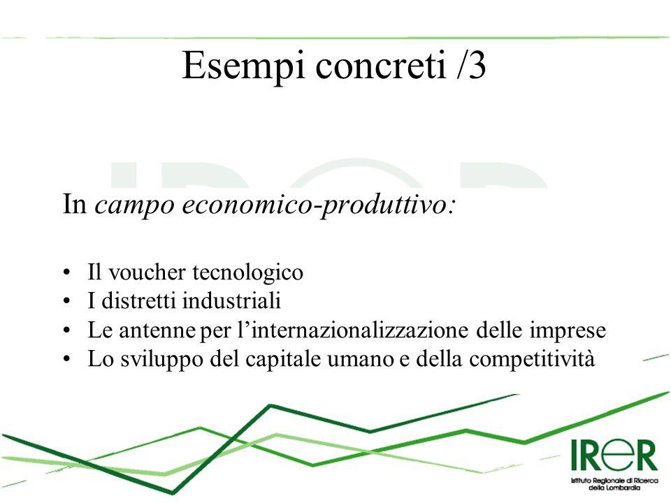 Esempi concreti /3 In campo economico-produttivo: Il voucher tecnologico I distretti industriali Le antenne per l'internazionalizzazione delle imprese Lo sviluppo del capitale umano e della competitività
