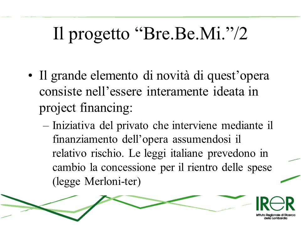 Il progetto Bre.Be.Mi. /2 Il grande elemento di novità di quest'opera consiste nell'essere interamente ideata in project financing: –Iniziativa del privato che interviene mediante il finanziamento dell'opera assumendosi il relativo rischio.