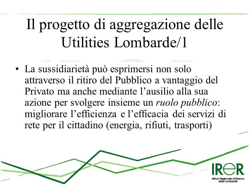 Il progetto di aggregazione delle Utilities Lombarde/1 La sussidiarietà può esprimersi non solo attraverso il ritiro del Pubblico a vantaggio del Privato ma anche mediante l'ausilio alla sua azione per svolgere insieme un ruolo pubblico: migliorare l'efficienza e l'efficacia dei servizi di rete per il cittadino (energia, rifiuti, trasporti)