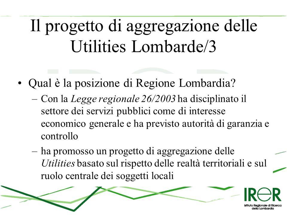 Il progetto di aggregazione delle Utilities Lombarde/3 Qual è la posizione di Regione Lombardia.