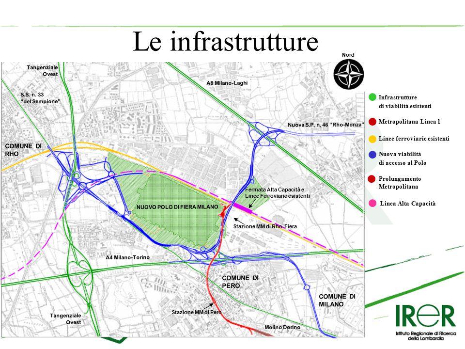 Le infrastrutture Infrastrutture di viabilità esistenti Metropolitana Linea 1 Linee ferroviarie esistenti Tangenziale Ovest S.S.