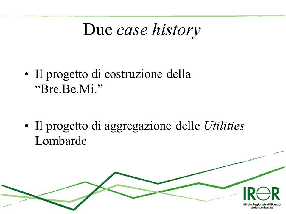 Due case history Il progetto di costruzione della Bre.Be.Mi. Il progetto di aggregazione delle Utilities Lombarde