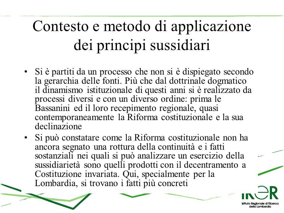 Contesto e metodo di applicazione dei principi sussidiari Si è partiti da un processo che non si è dispiegato secondo la gerarchia delle fonti.