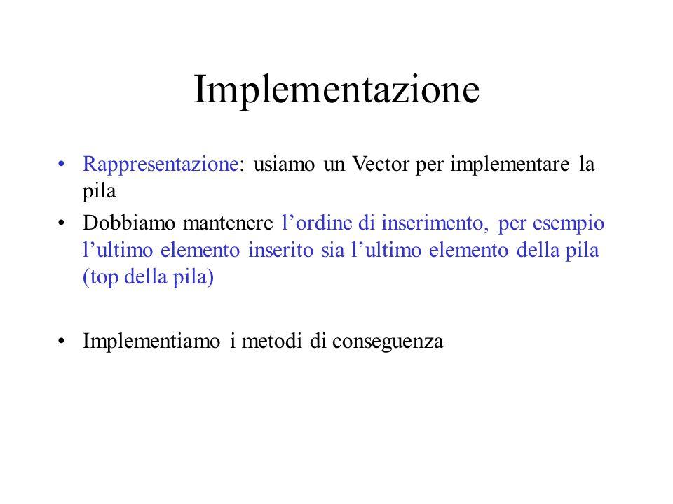 Implementazione Rappresentazione: usiamo un Vector per implementare la pila Dobbiamo mantenere l'ordine di inserimento, per esempio l'ultimo elemento inserito sia l'ultimo elemento della pila (top della pila) Implementiamo i metodi di conseguenza