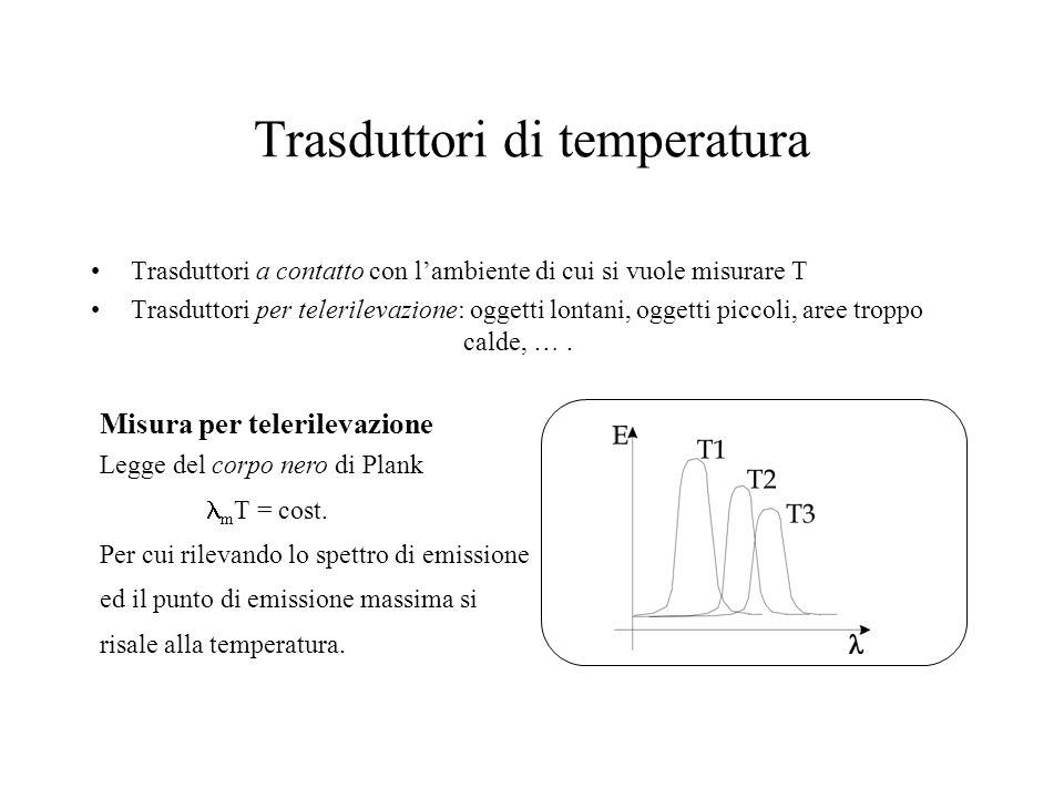 Trasduttori di temperatura Trasduttori a contatto con l'ambiente di cui si vuole misurare T Trasduttori per telerilevazione: oggetti lontani, oggetti