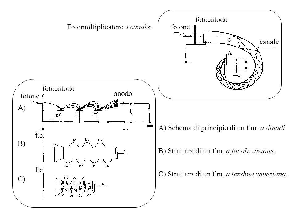 fotocatodo fotone canale e A Fotomoltiplicatore a canale: A) B) C) anodo fotocatodo fotone f.c. A) Schema di principio di un f.m. a dinodi. B) Struttu