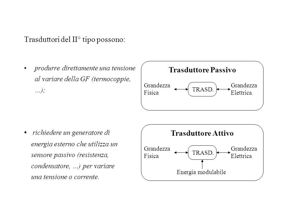 Trasduttori del II° tipo possono: produrre direttamente una tensione al variare della GF (termocoppie, …); TRASD. Trasduttore Passivo Grandezza Elettr