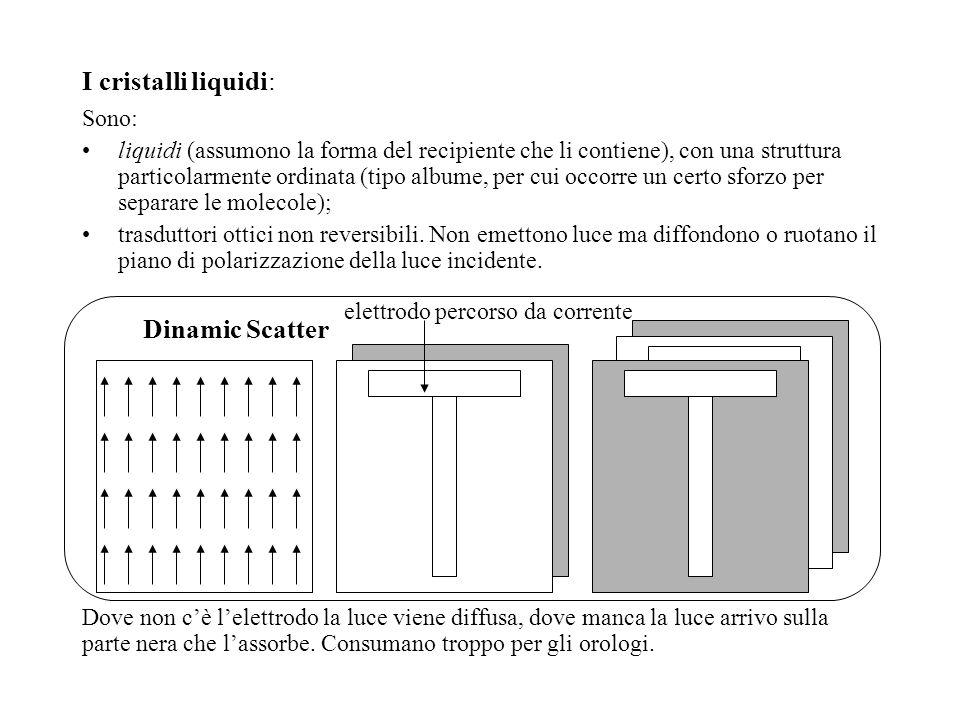I cristalli liquidi: Sono: liquidi (assumono la forma del recipiente che li contiene), con una struttura particolarmente ordinata (tipo albume, per cu