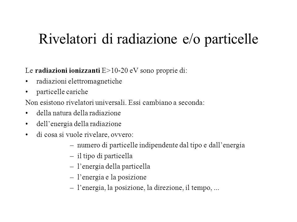 Rivelatori di radiazione e/o particelle Le radiazioni ionizzanti E>10-20 eV sono proprie di: radiazioni elettromagnetiche particelle cariche Non esist