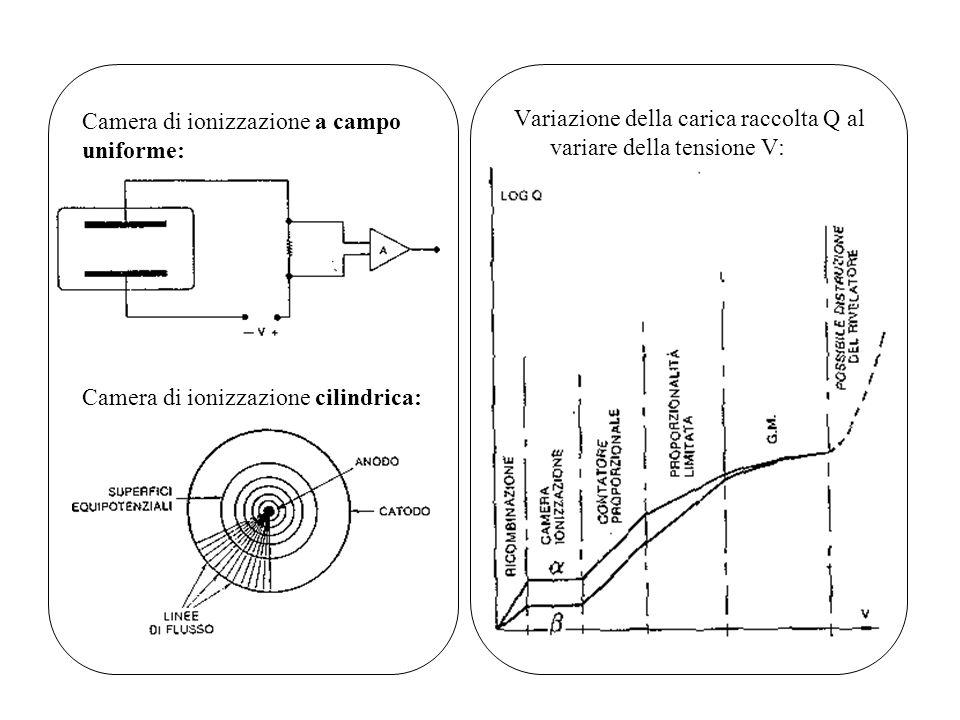 Variazione della carica raccolta Q al variare della tensione V: Camera di ionizzazione a campo uniforme: Camera di ionizzazione cilindrica: