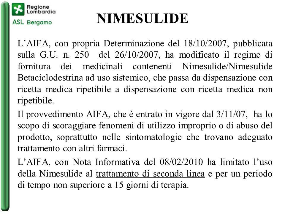 NIMESULIDE L'AIFA, con propria Determinazione del 18/10/2007, pubblicata sulla G.U.
