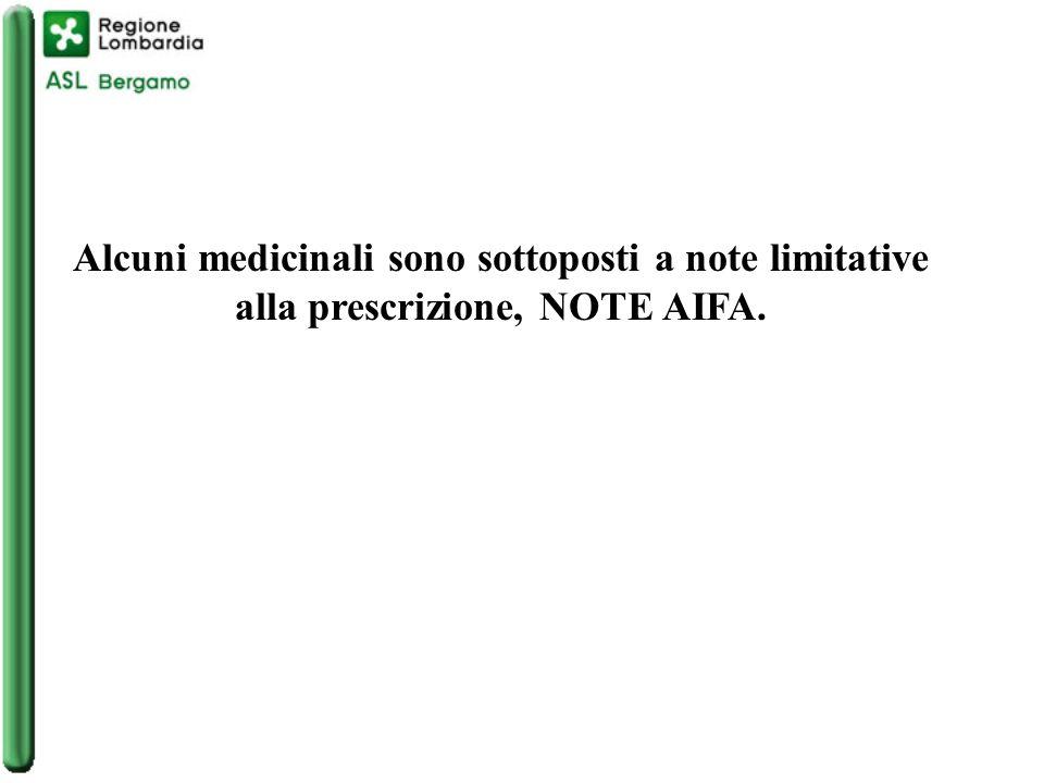 Alcuni medicinali sono sottoposti a note limitative alla prescrizione, NOTE AIFA.