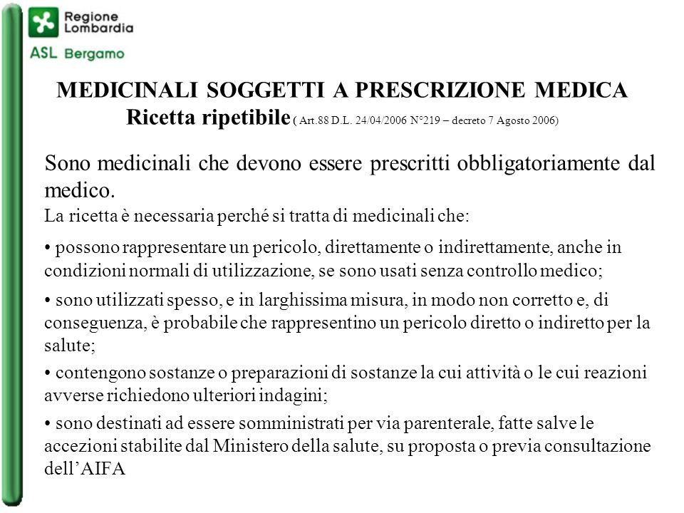 Ricetta ripetibile Medicinali inseriti nella tabella 4 della Farmacopea Ufficiale XII ed.