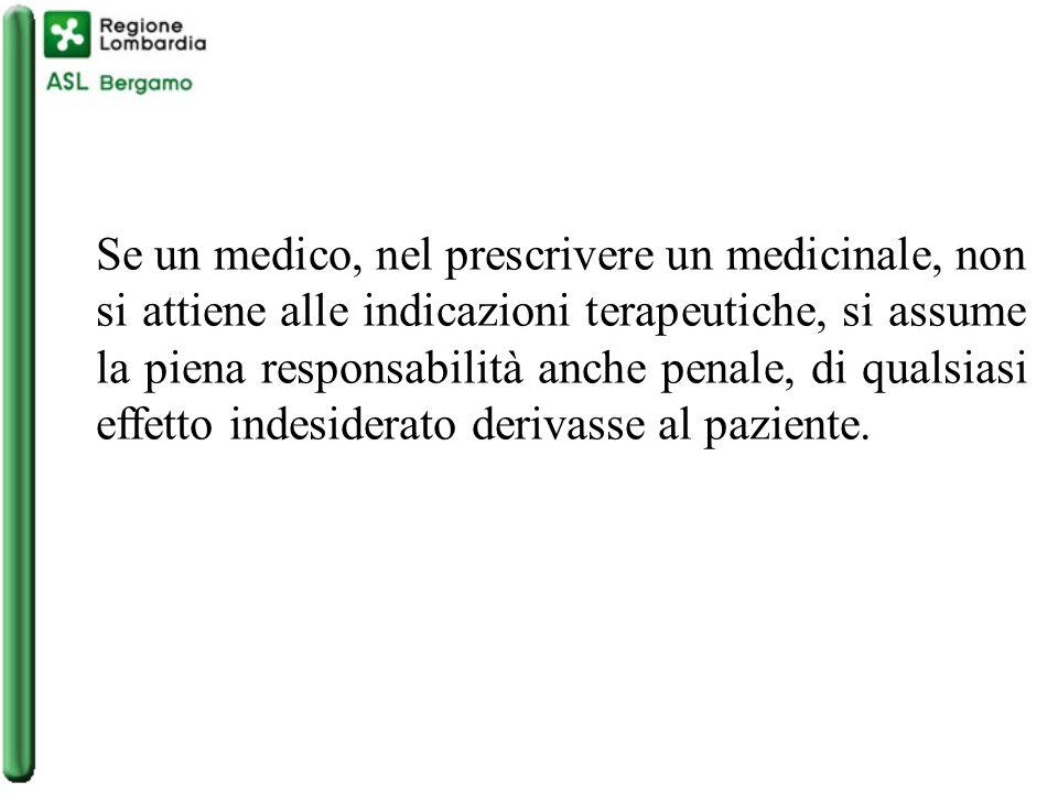Se un medico, nel prescrivere un medicinale, non si attiene alle indicazioni terapeutiche, si assume la piena responsabilità anche penale, di qualsiasi effetto indesiderato derivasse al paziente.
