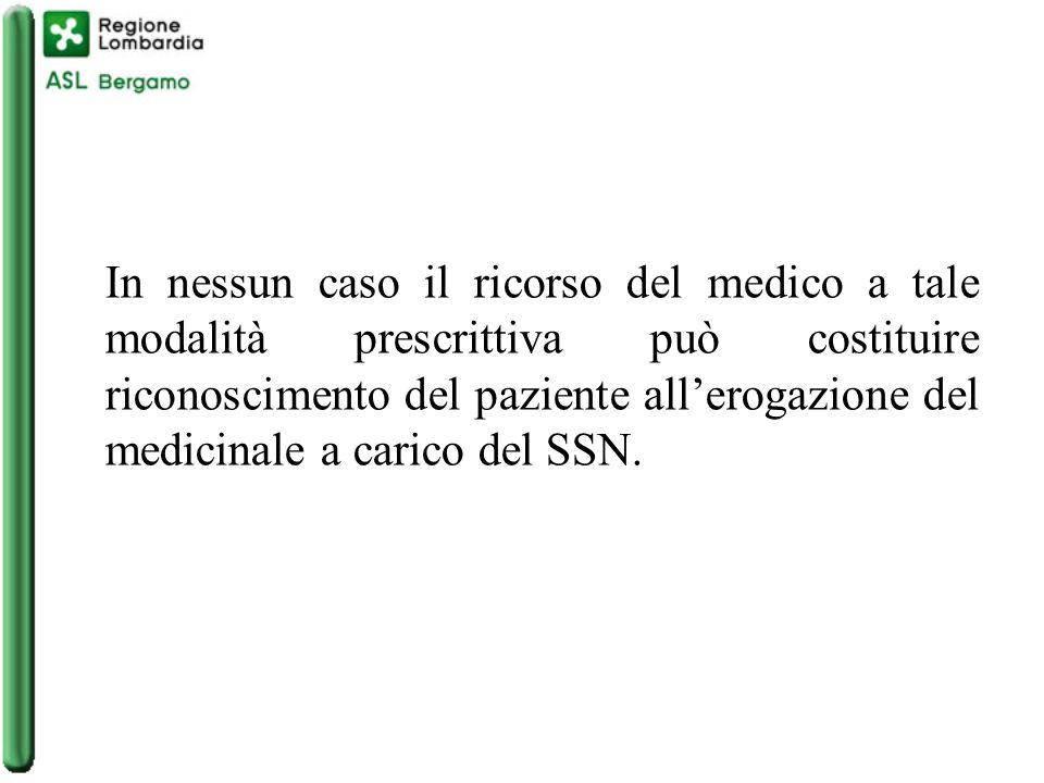 In nessun caso il ricorso del medico a tale modalità prescrittiva può costituire riconoscimento del paziente all'erogazione del medicinale a carico del SSN.