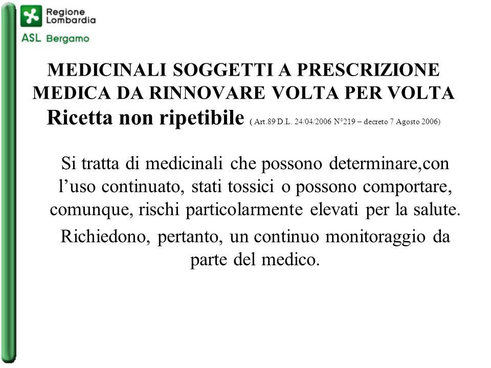 MEDICINALI SOGGETTI A PRESCRIZIONE MEDICA DA RINNOVARE VOLTA PER VOLTA Ricetta non ripetibile ( Art.89 D.L.