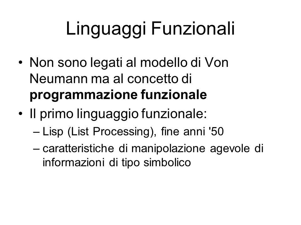 Linguaggi Funzionali Non sono legati al modello di Von Neumann ma al concetto di programmazione funzionale Il primo linguaggio funzionale: –Lisp (List