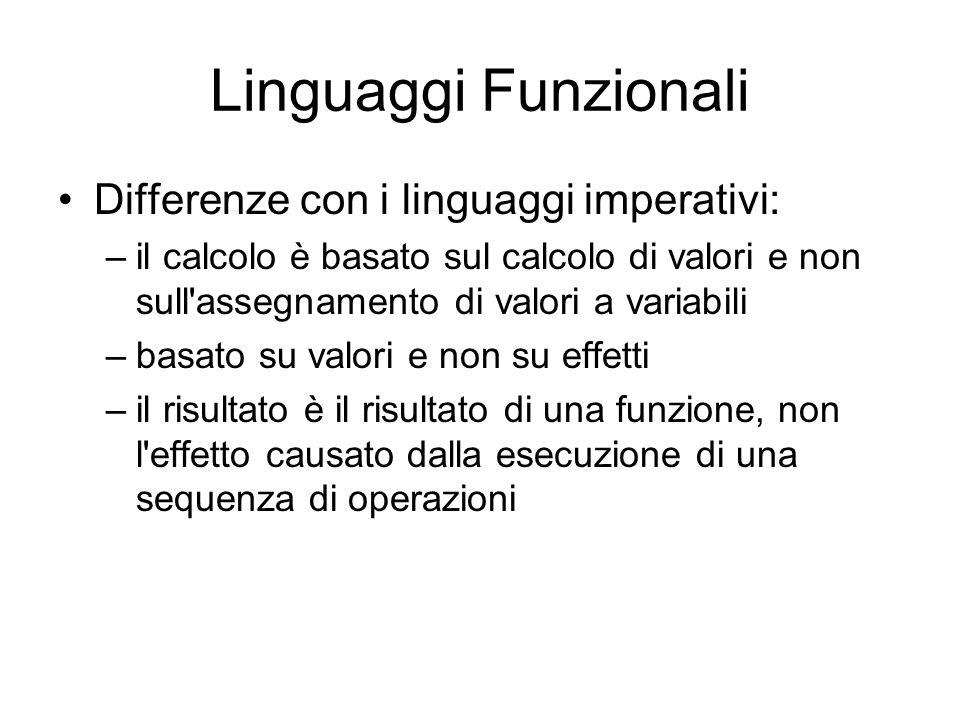 Linguaggi Funzionali Differenze con i linguaggi imperativi: –il calcolo è basato sul calcolo di valori e non sull'assegnamento di valori a variabili –
