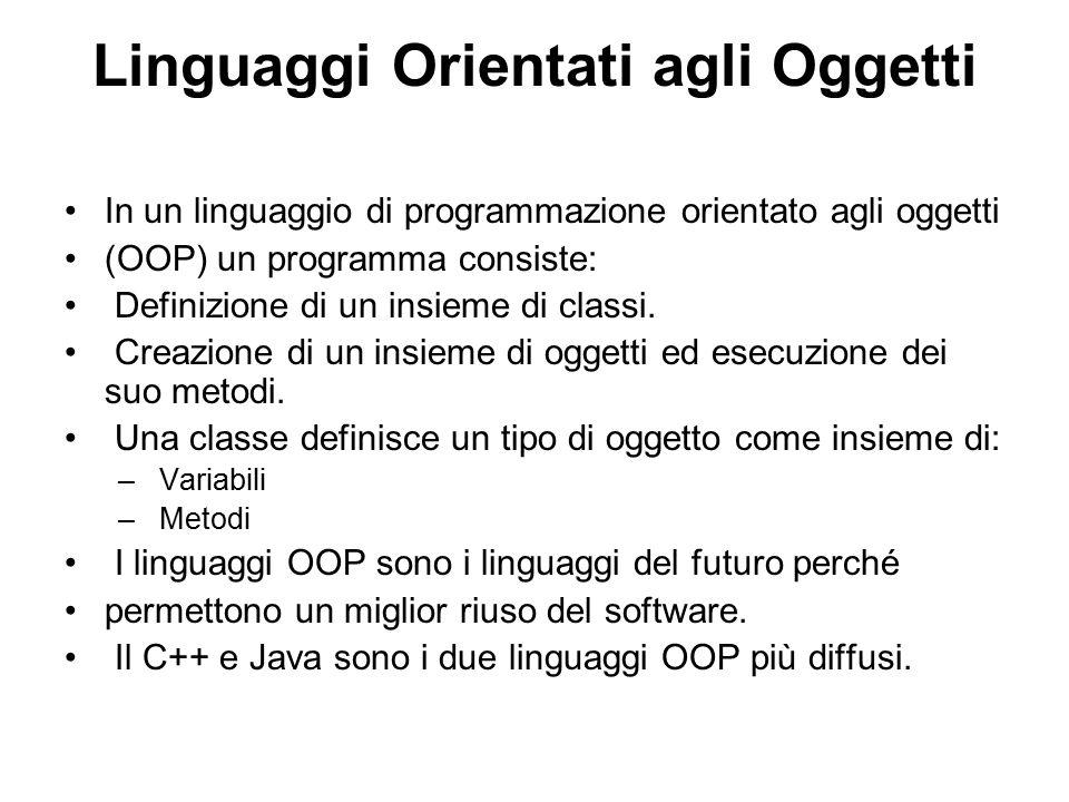 Linguaggi Orientati agli Oggetti In un linguaggio di programmazione orientato agli oggetti (OOP) un programma consiste: Definizione di un insieme di c