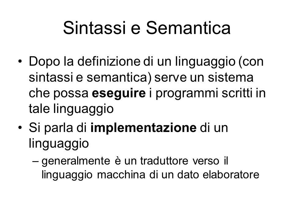 Sintassi e Semantica Dopo la definizione di un linguaggio (con sintassi e semantica) serve un sistema che possa eseguire i programmi scritti in tale l