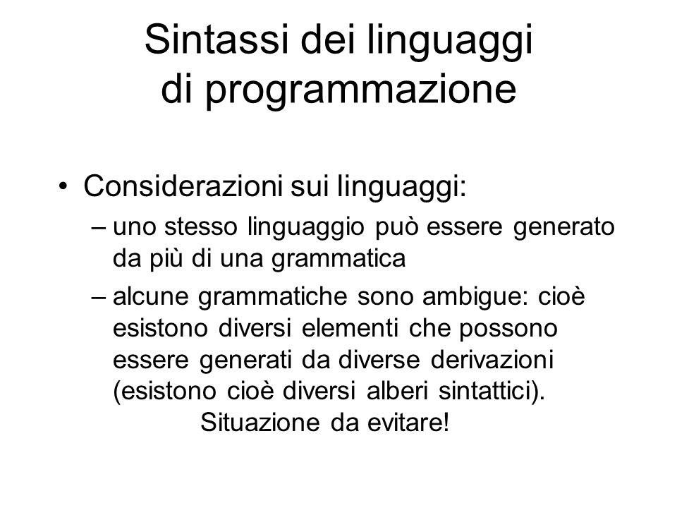 Sintassi dei linguaggi di programmazione Considerazioni sui linguaggi: –uno stesso linguaggio può essere generato da più di una grammatica –alcune gra