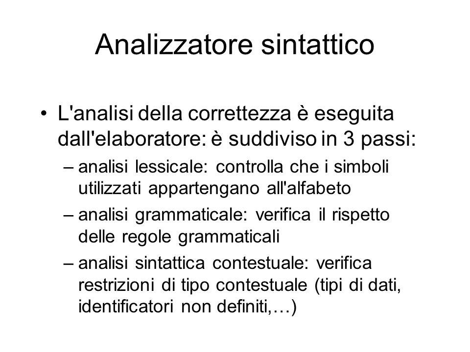 Analizzatore sintattico L'analisi della correttezza è eseguita dall'elaboratore: è suddiviso in 3 passi: –analisi lessicale: controlla che i simboli u