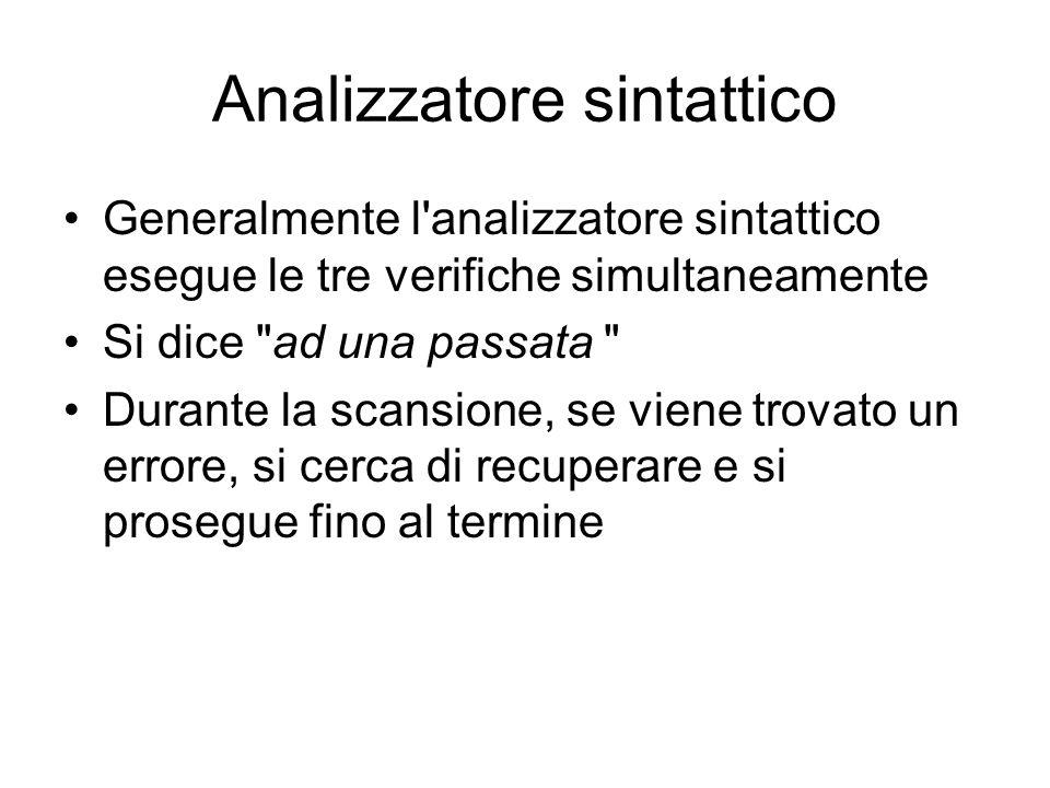 Analizzatore sintattico Generalmente l'analizzatore sintattico esegue le tre verifiche simultaneamente Si dice