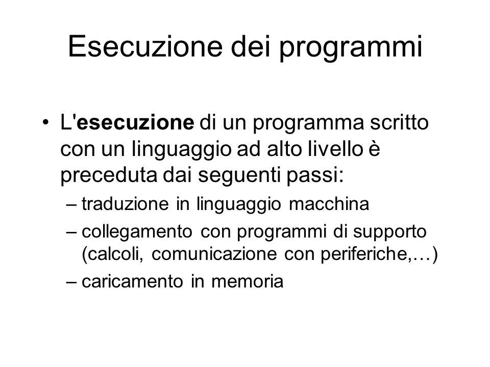 Esecuzione dei programmi L'esecuzione di un programma scritto con un linguaggio ad alto livello è preceduta dai seguenti passi: –traduzione in linguag