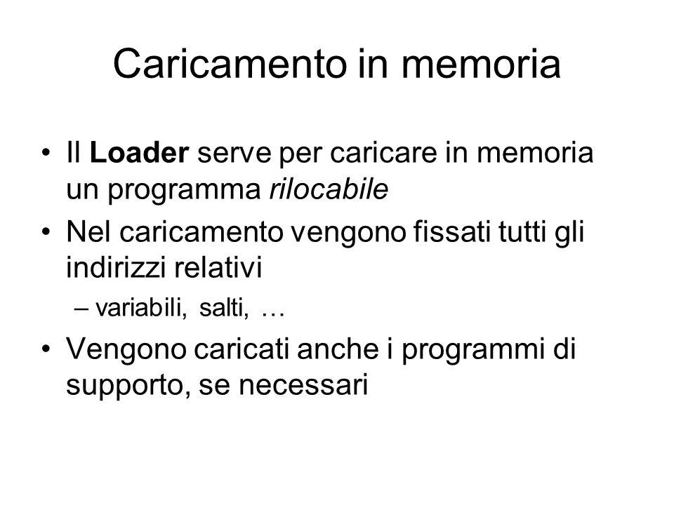 Caricamento in memoria Il Loader serve per caricare in memoria un programma rilocabile Nel caricamento vengono fissati tutti gli indirizzi relativi –v