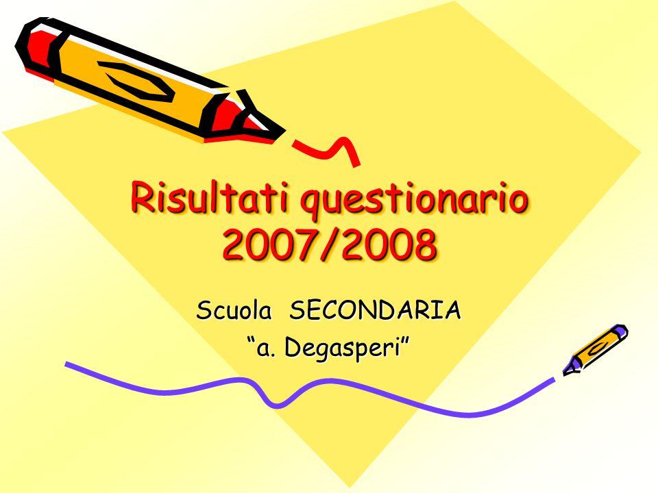 Risultati questionario 2007/2008 Scuola SECONDARIA a. Degasperi