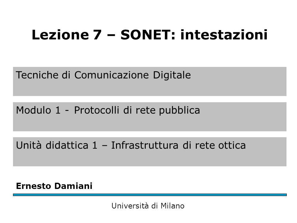 Tecniche di Comunicazione Digitale Modulo 1 -Protocolli di rete pubblica Unità didattica 1 – Infrastruttura di rete ottica Ernesto Damiani Università