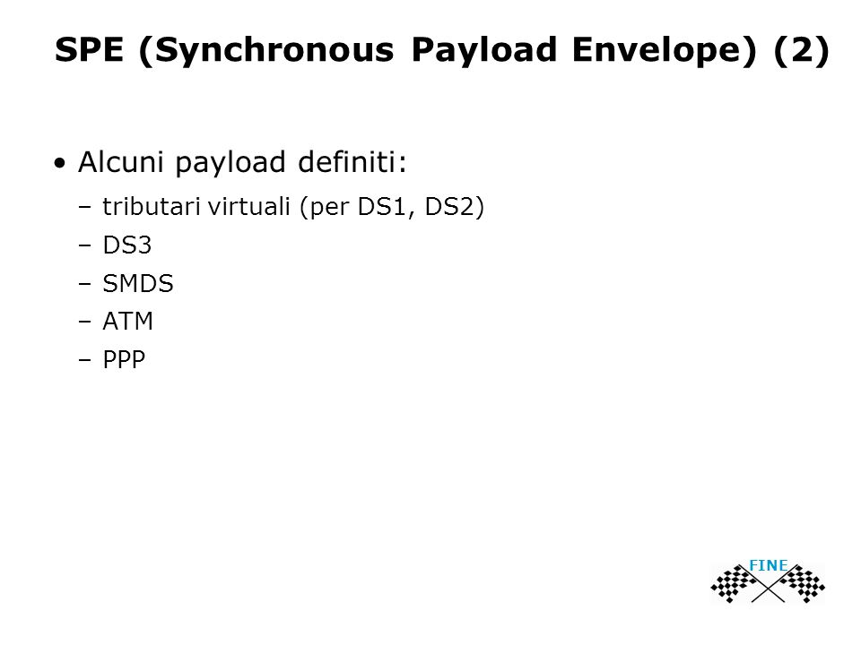 SPE (Synchronous Payload Envelope) (2) Alcuni payload definiti: –tributari virtuali (per DS1, DS2) –DS3 –SMDS –ATM –PPP FINE