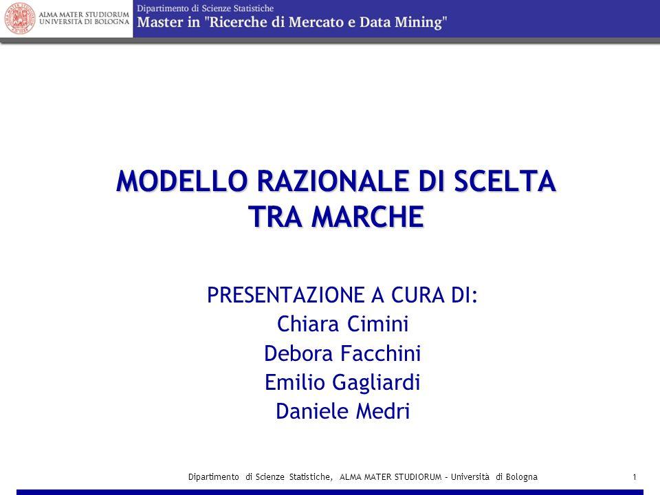 Dipartimento di Scienze Statistiche, ALMA MATER STUDIORUM – Università di Bologna12 Modello NESTED LOGIT MODELLO MINUTE:MODELLO MINUTE: P(i|M) = e Vj / ∑ jЄM e Vj INCLUSIVE VALUE I M = log ( e Vbm + e Vsm )  SECONDO LIVELLO DI ANALISI  SECONDO LIVELLO DI ANALISI: costruzione di due modelli MNL, uno per l'alternativa MINUTE e uno per l'alternativa FLAT MODELLO FLAT:MODELLO FLAT: P(i|F) = e Vj / ∑ jЄF e Vj INCLUSIVE VALUE I F = log ( e Vlf + e Vef + e Vmf )