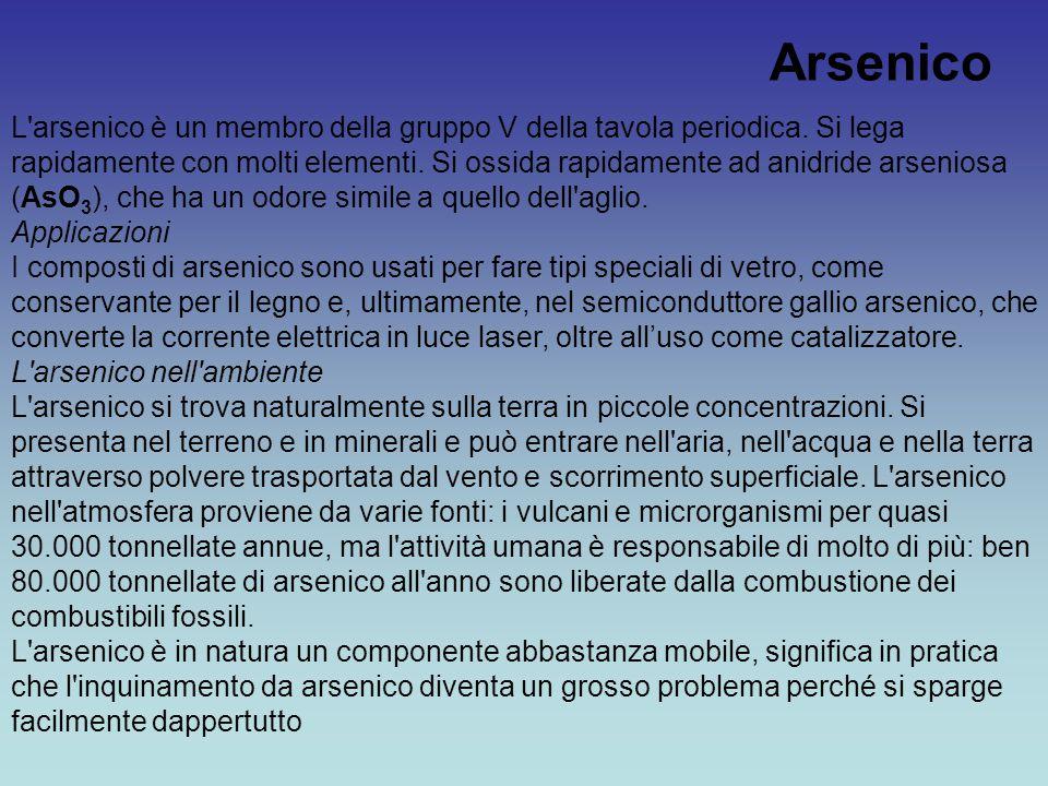 Arsenico L'arsenico è un membro della gruppo V della tavola periodica. Si lega rapidamente con molti elementi. Si ossida rapidamente ad anidride arsen