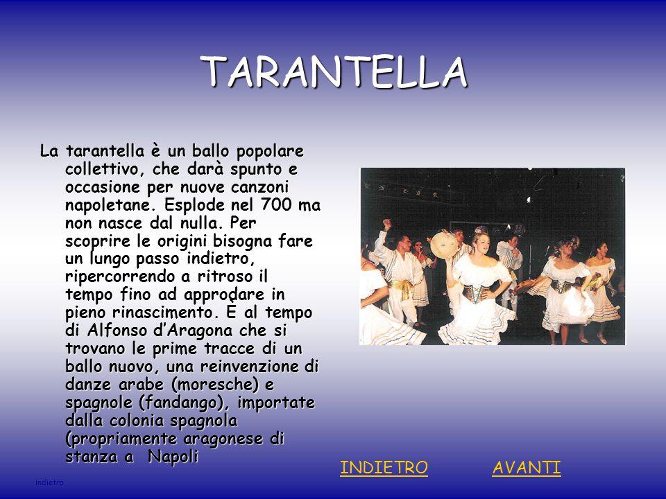 TARANTELLA La tarantella è un ballo popolare collettivo, che darà spunto e occasione per nuove canzoni napoletane.