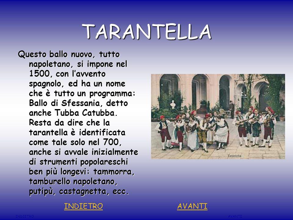 TARANTELLA Questo ballo nuovo, tutto napoletano, si impone nel 1500, con l'avvento spagnolo, ed ha un nome che è tutto un programma: Ballo di Sfessania, detto anche Tubba Catubba.