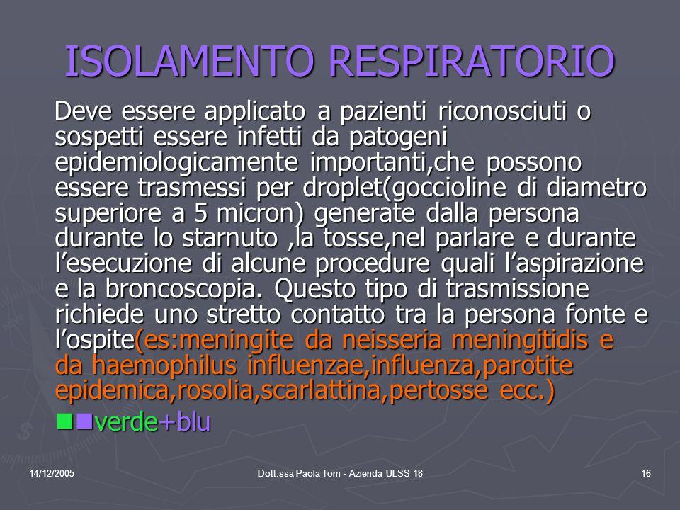 14/12/2005Dott.ssa Paola Torri - Azienda ULSS 1816 ISOLAMENTO RESPIRATORIO Deve essere applicato a pazienti riconosciuti o sospetti essere infetti da patogeni epidemiologicamente importanti,che possono essere trasmessi per droplet(goccioline di diametro superiore a 5 micron) generate dalla persona durante lo starnuto,la tosse,nel parlare e durante l'esecuzione di alcune procedure quali l'aspirazione e la broncoscopia.