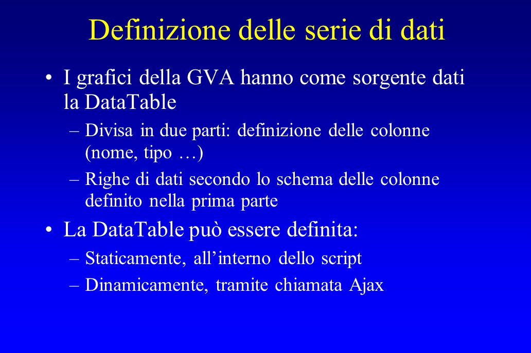 Definizione statica var data = new google.visualization.DataTable(); data.addColumn( string , Label ); data.addColumn( number , Value ); data.addRows(3); data.setValue(0, 0, Memory ); data.setValue(0, 1, 80); data.setValue(1, 0, CPU ); data.setValue(1, 1, 55); data.setValue(2, 0, Network ); data.setValue(2, 1, 68);